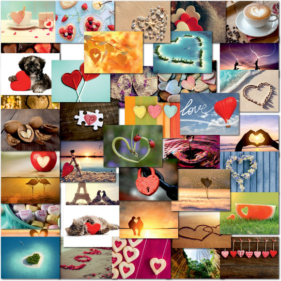 Pack of 40 Mixed Postcards All Different Love Hearts