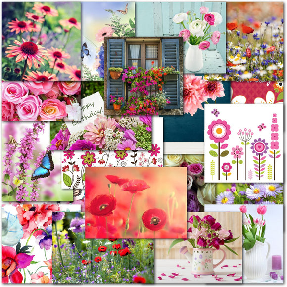 Doodlecards Pack of 20 Floral Birthday Standard & Square Cards