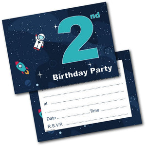 2nd Birthday Party Invitations Age 2 Male Boys Childrens Pack Of 20 Invites