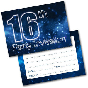 16th Birthday Party Invitations Age 16 Male Men Boys Pack Of 20 Invite Doodlecards