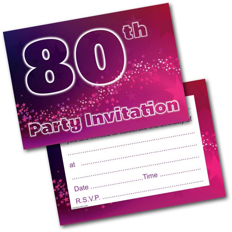 80th Birthday Party Invitations Age 80 Female Womens Pack Of 20 Invites