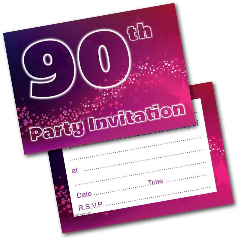 90th Birthday Party Invitations Age 90 Female Womens Pack Of 20 Invites