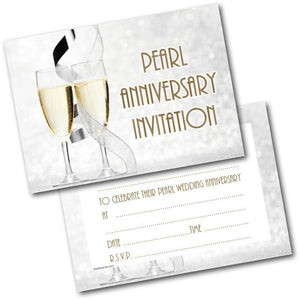 Pearl wedding anniversary invitations 30th pack of 20 invites and pearl wedding anniversary invitations 30th pack of 20 invites and envelopes stopboris Image collections