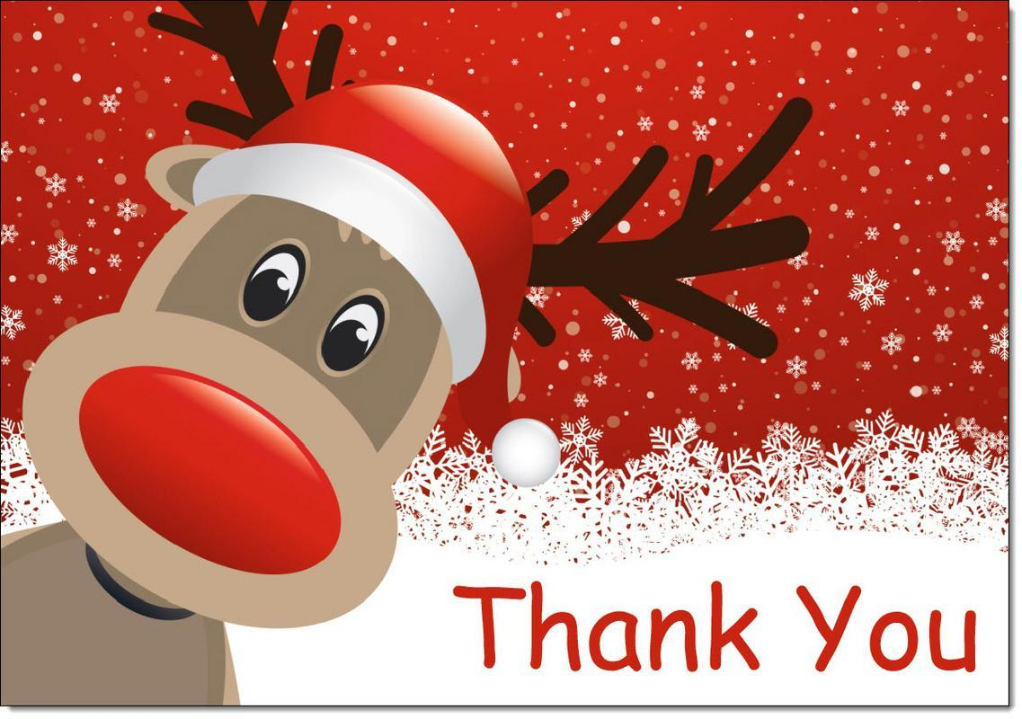 Christmas Thank You Cards Thankyou Red Rudolph Pack of 20 Cards & Envelopes