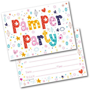 Birthday Party Invitations Pamper Pack Of 20 Invites