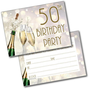 50th Birthday Party Invitations Age 50 Male Mens Female Womens Pack 20 Doodlecards