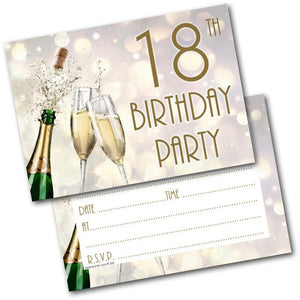 18th Birthday Party Invitations Age 18 Male Mens Female Womens Pack 20 Invites