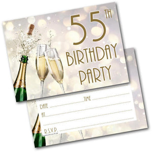 55th Birthday Party Invitations Age 55 Male Mens Female Womens Pack 20 Invites