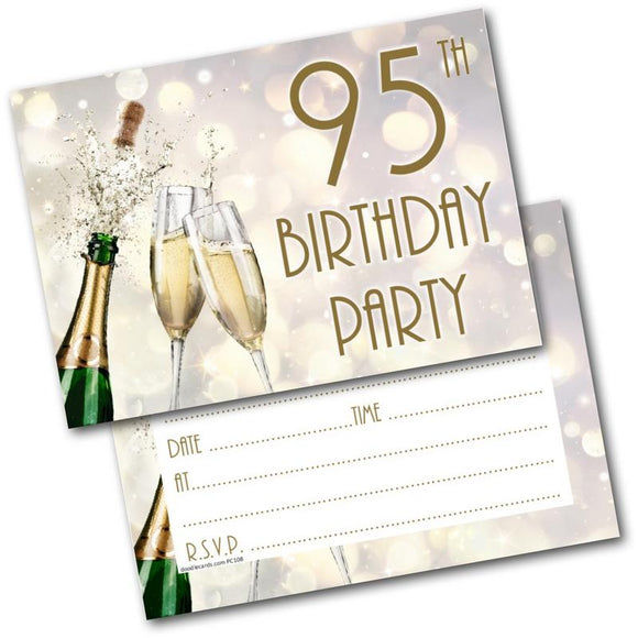 95th Birthday Party Invitations Age 95 Male Mens Female Womens Pack 20 Invites