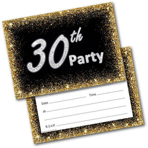 30th Birthday Party Invitations Age 30 Male Mens Female Womens Pack 20 – doodlecards