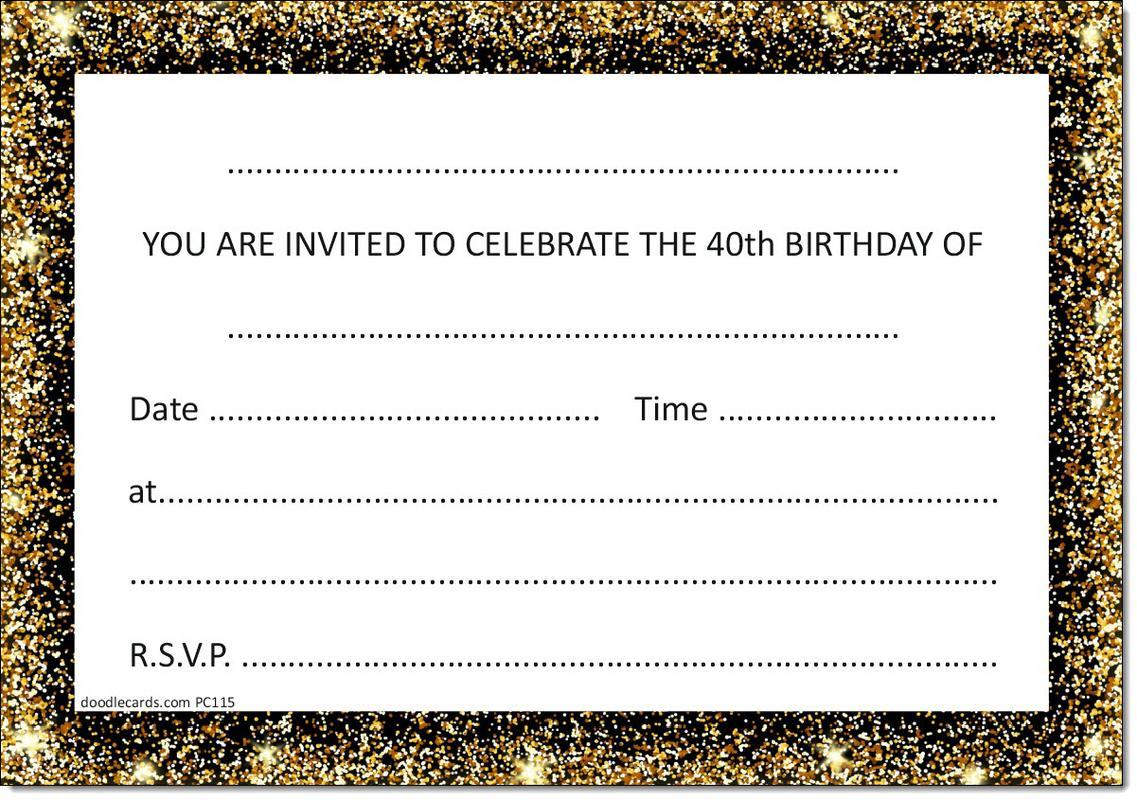 40th Birthday Party Invitations Age 40 Male Mens Female Womens Pack ...