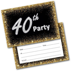 40th Birthday Party Invitations Age 40 Male Mens Female Womens Pack