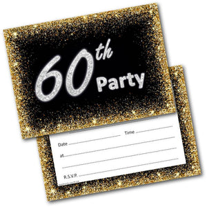 60th Birthday Party Invitations Age 60 Male Mens Female Womens Pack 20 Doodlecards