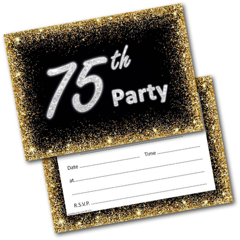 75th Birthday Party Invitations Age 75 Male Mens Female Womens Pack 20 Invites