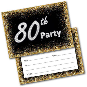 80th Birthday Party Invitations Age 80 Male Mens Female Womens Pack 20 Invites
