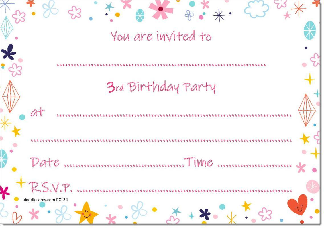 3rd Birthday Party Invitations Age 3 Female Girls Childrens Pack of ...