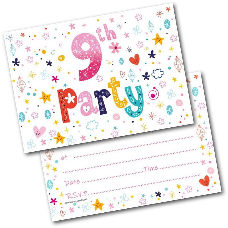9th Birthday Party Invitations Age 9 Female Girls Childrens Pack Of 20 Invites