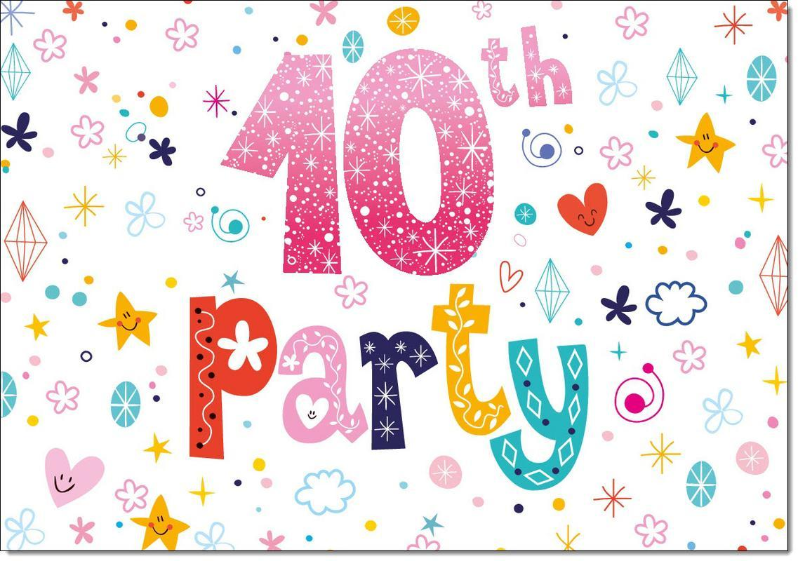10th Birthday Party Invitations Age 10 Female Girls Childrens Pack Of 20 Invites