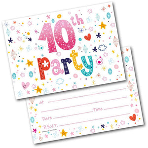 10th birthday party invitations age 10 female girls childrens pack