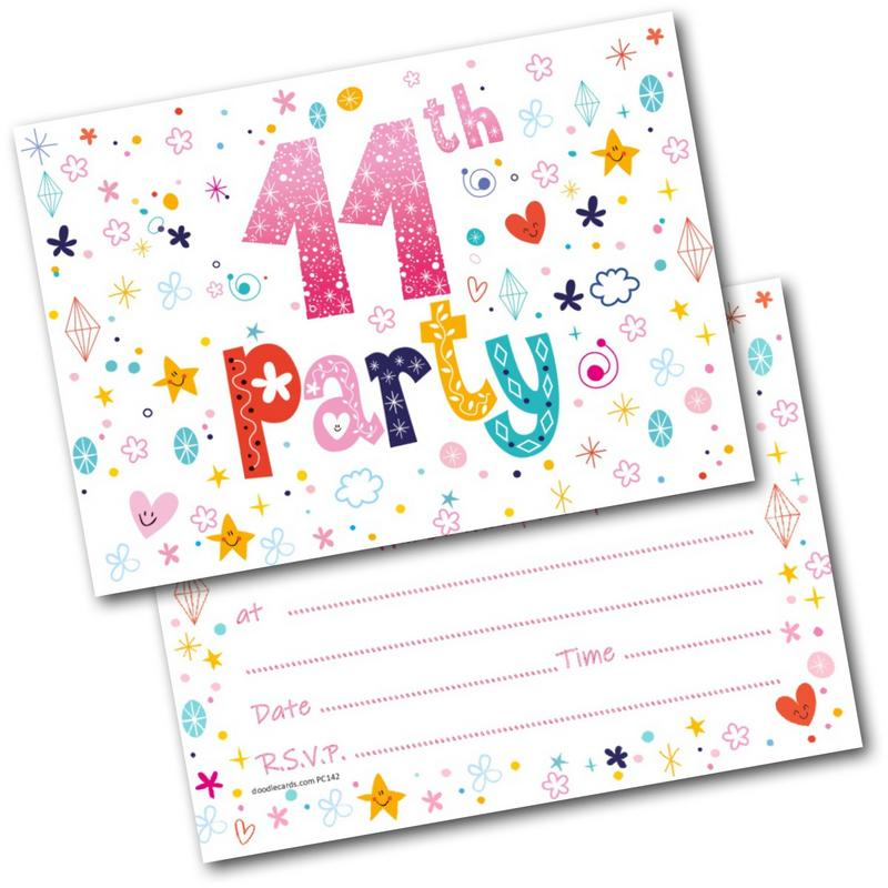 11th Birthday Party Invitations Age 11 Female Girls Childrens Pack Of 20 Invites