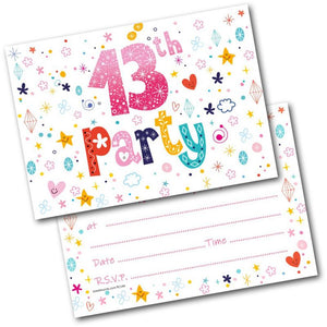 13th Birthday Party Invitations Age 13 Female Girls Childrens Pack Of 20 Invites