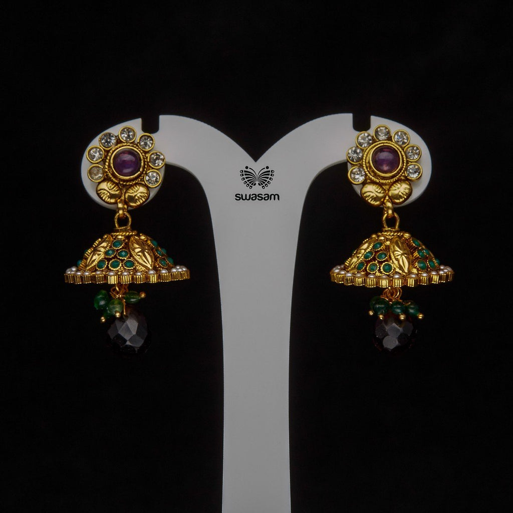 Earrings Purple Green