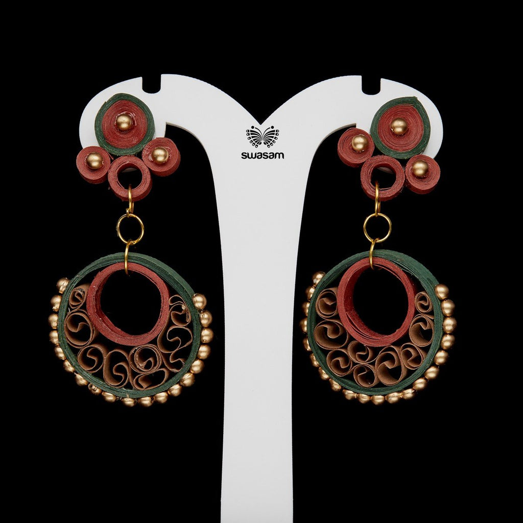 Earrings Maroon & Green