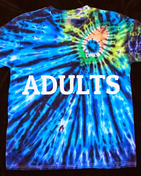 TIE DYE PEACOCK ADULT T-SHIRT