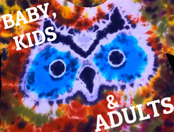 TIE DYE BLUE EYED OWL T-SHIRT
