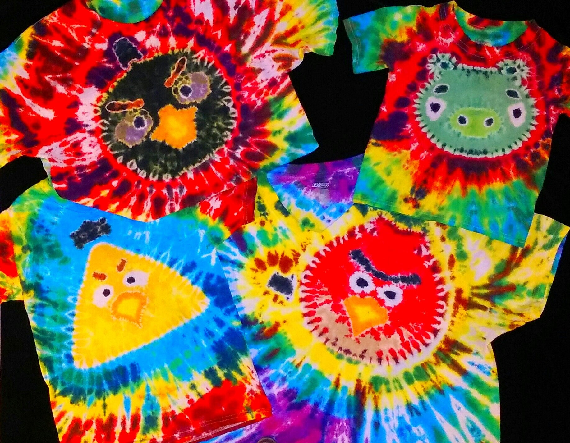 Colorful TIE DYE T-SHIRTS ANGRY BIRDS