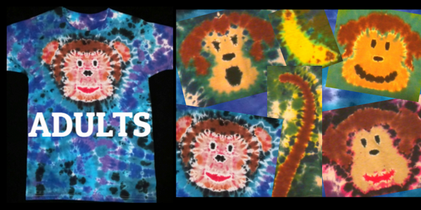MONKEY TIE DYE ADULT T-SHIRT