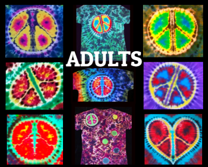 TIE DYE PEACE SIGN, ADULT T-SHIRT