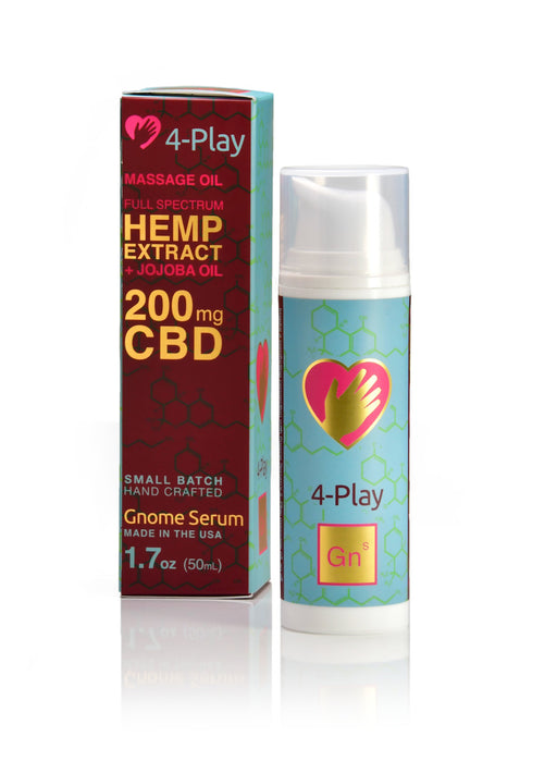 4 Play Massage Oil: Full spectrum hemp extract + jojoba oil for natural moisture
