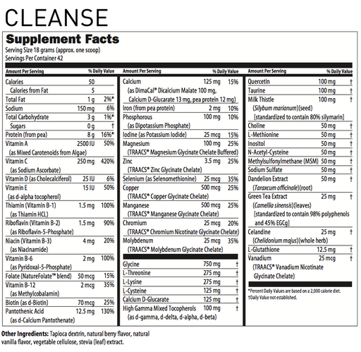 RxStar Remedy CLEANSE Supplement Facts
