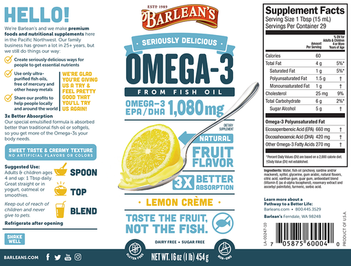 Barleans Omega 3 Fish Oil (lemon flavored) 16oz