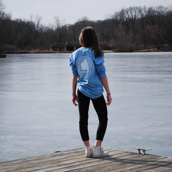 Polar bear tshirt/polar ambassadors/emma in marine blue/women's