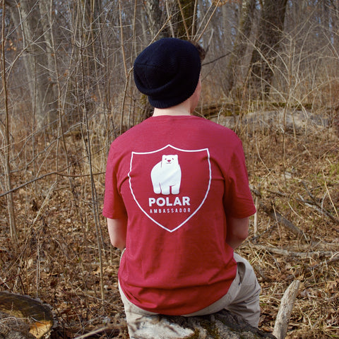 Polar bear tshirt/polar ambassadors/Elliot in cardinal red/men's