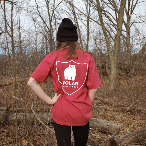 Polar bear tshirt/polar ambassadors/Elliot in cardinal red/women's