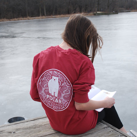 Polar bear tshirt/polar ambassadors/Emma in rich red/women's