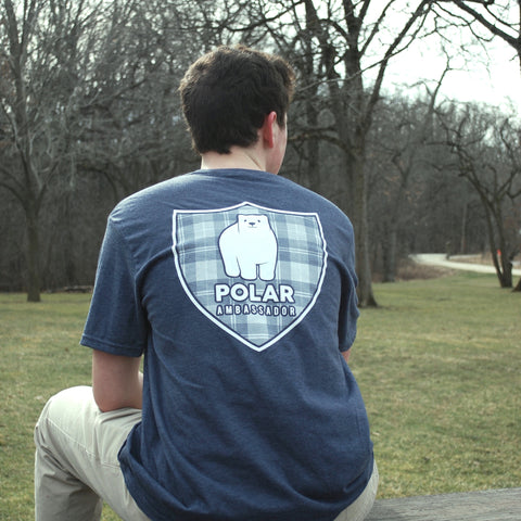 Polar bear tshirt/polar ambassadors/Hudson in heather navy/men's