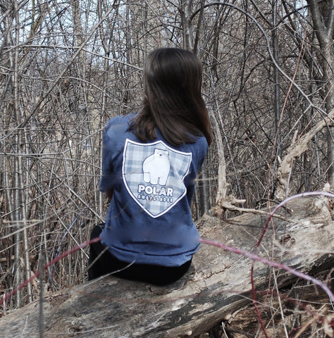 Polar bear tshirt/polar ambassadors/Hudson in heather navy/women's