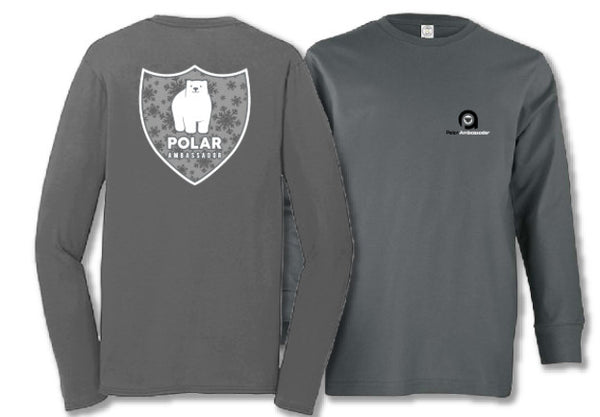 Polar bear tshirt/polar ambassadors/Ollie in charcoal gray/kids