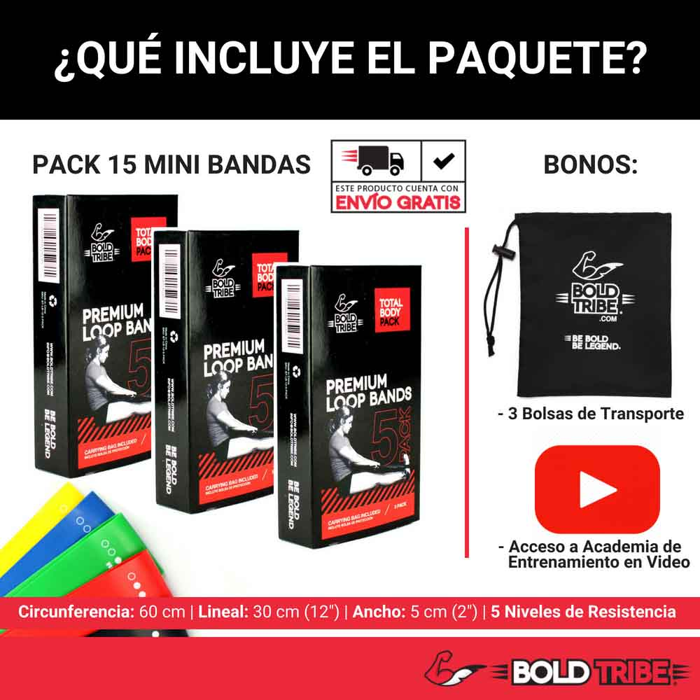 pack de bandas de resistencia mini bands loop bands pierna