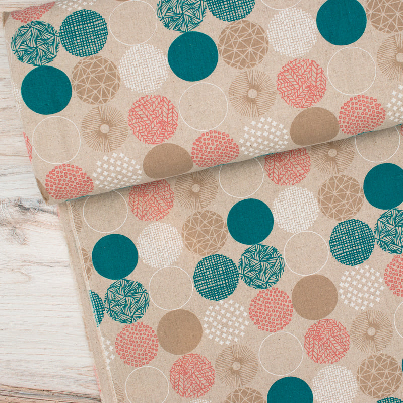 Circles (Pink and Teal) - Linen / Cotton
