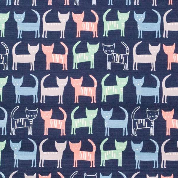 Cats (Navy) - Oxford Cotton