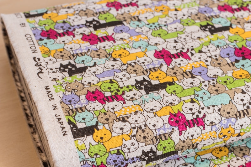 Colorful Cats (Pink, Yellow) - Cotton / Linen
