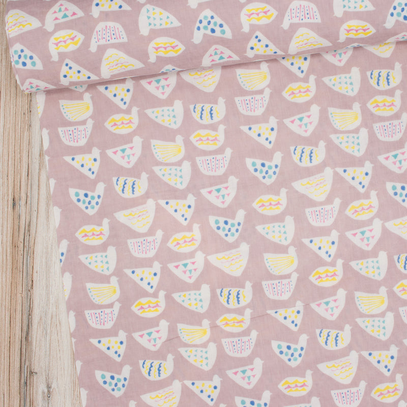 Kokka Trefle chickens bird fabric double gauze in pink