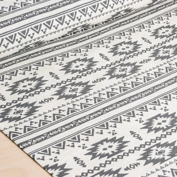 Trefle Southwestern Motif (Gray) - Cotton Barkcloth