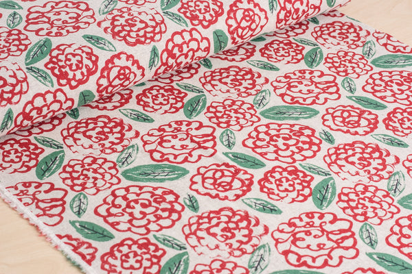Flowers (Red) - Linen / Cotton