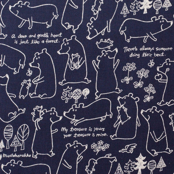 Fabric - Bear Family (Navy) - Cotton / Linen